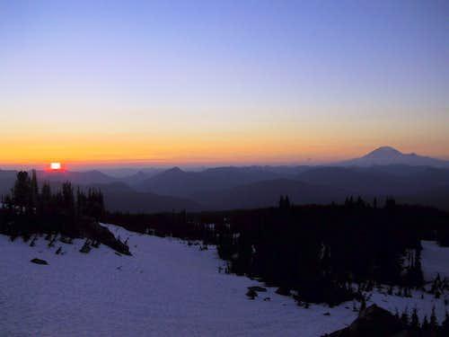 Rainier at sunset from Adams