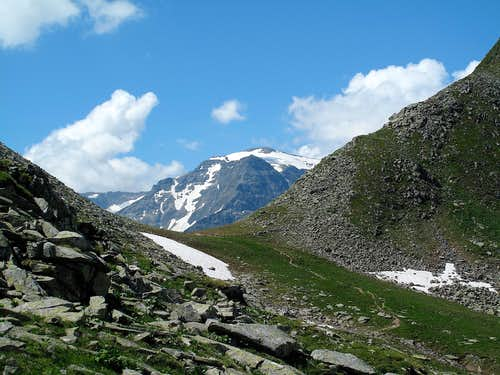 The Miesbichlscharte pass (2237m), with the Schareck (3123m) rising behind