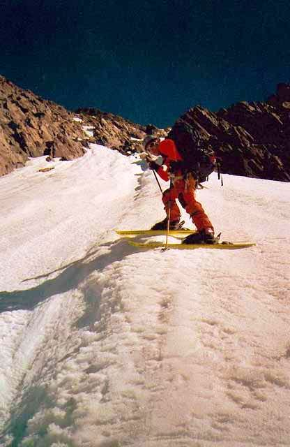 Skiing down the lower section...