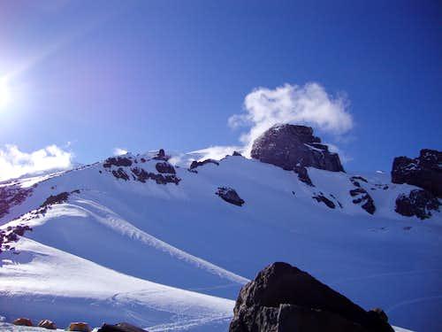 Toward Rainier summit form Camp Muir