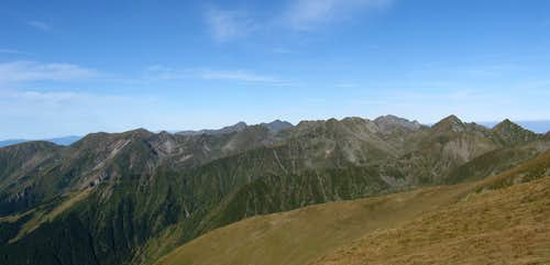 panorama of western Fagaras Mountains viewed from Moldoveanu peak