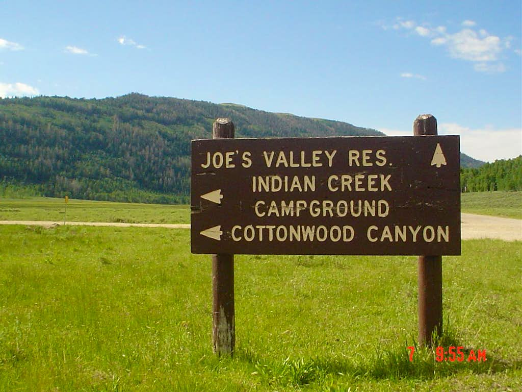 Indian Creek Campground road sign