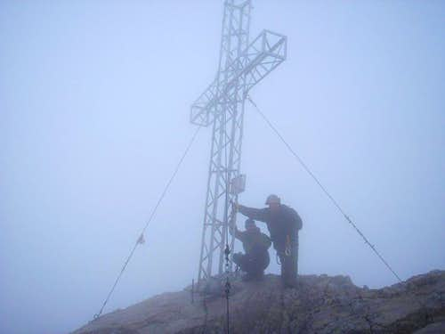 At the summit cross of Hoher Dachstein (2995m)