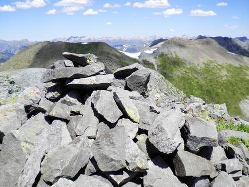 West from UN 13434 summit cairn