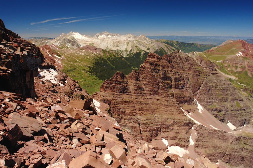 Capitol Peak and Snowmass Mountain from North Maroon Peak