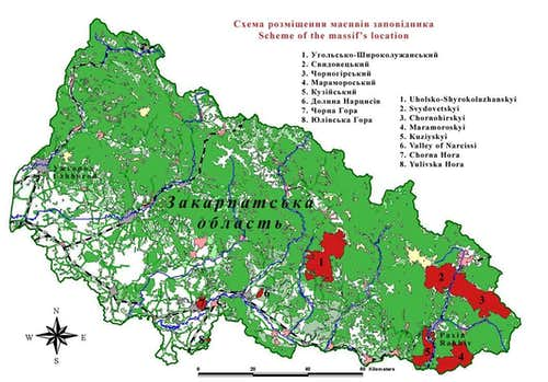 Localization of massifs within Carpathian Biosphere Reserve