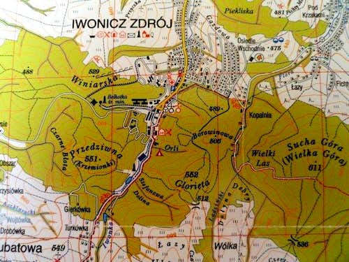 Map of Mountains near Iwonicz Zdrój