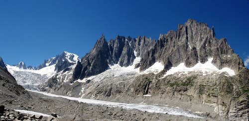 From the Glacier du Geant to the Aiguilles de Chamonix.