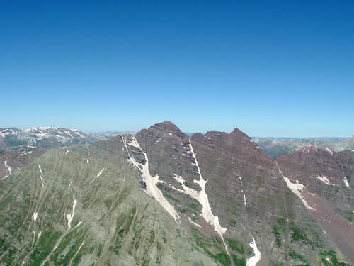 Maroon Bells from the Summit of Pyramid Peak