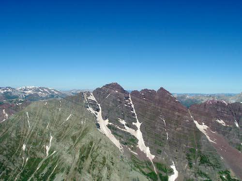 Maroon Bells from the Summit of Pyramid Peak