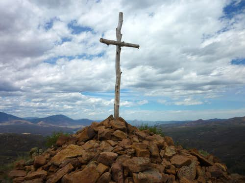Summit cairn and cross