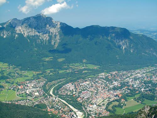 View to Hochstaufen (1774m) and Bad Reichenhall from the top of the Predigtstuhl