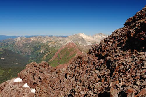 Maroon Peak: view west from summit ridge