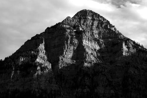 A black and white of Elk Point on Mt. Timpanogos
