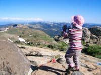 Celebrating 2-year birthday on the summit of Granite Chief