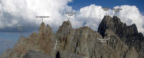 North Palisade, Starlight, and Thunderbolt Summits from the NW Ridge