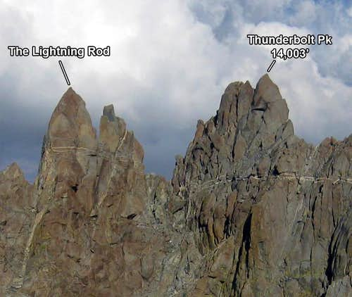 The Thunderbolt summits from the NW Ridge