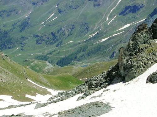 View climbing  punta Laval.