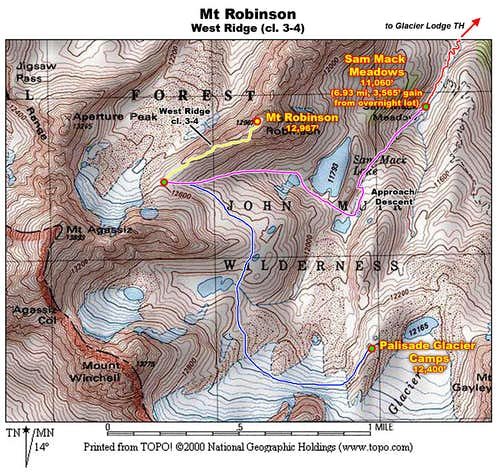 Mt Robinson West Ridge Map