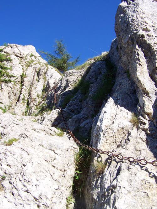 The upper section of the Klettersteig route of Turmstein