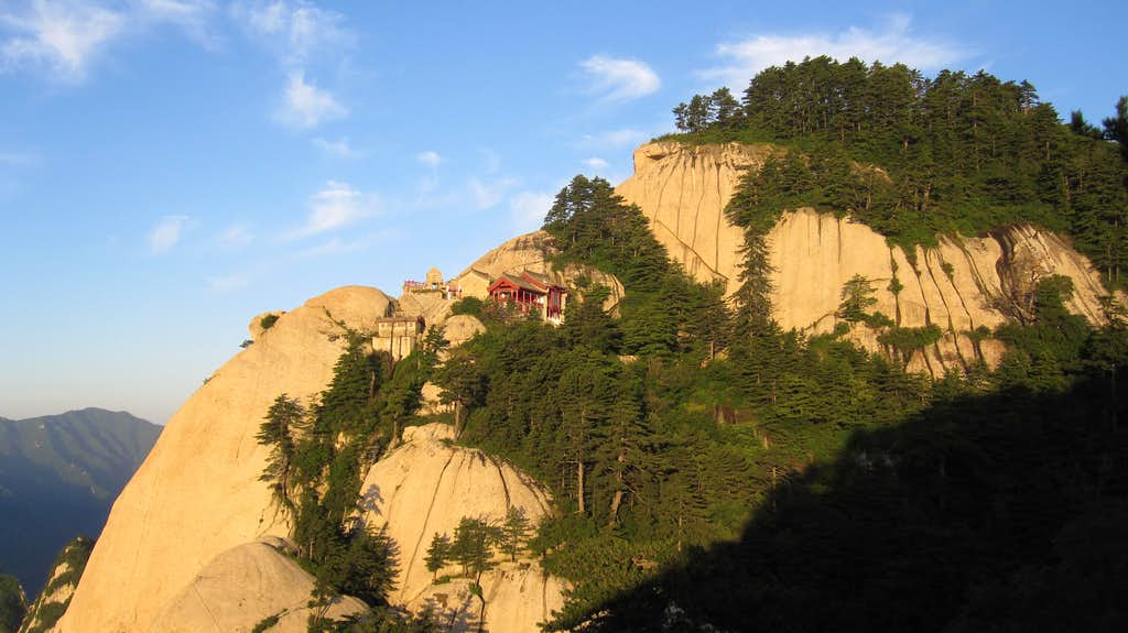 Morning sun greets a temple on Hua Shan's South Peak