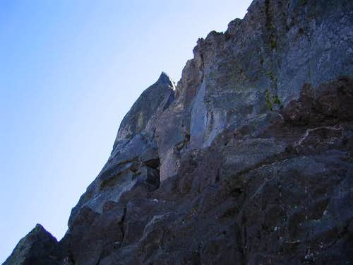 The crux crack on the NW...