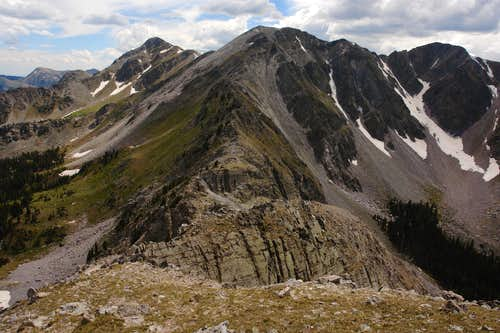 South, Medio and Middle Truchas Peaks from North Truchas Peak