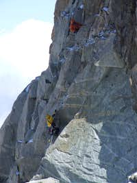 First pitch of the south-west route on the Dent du Geant