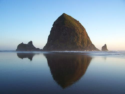 Haystack Rock and Reflection
