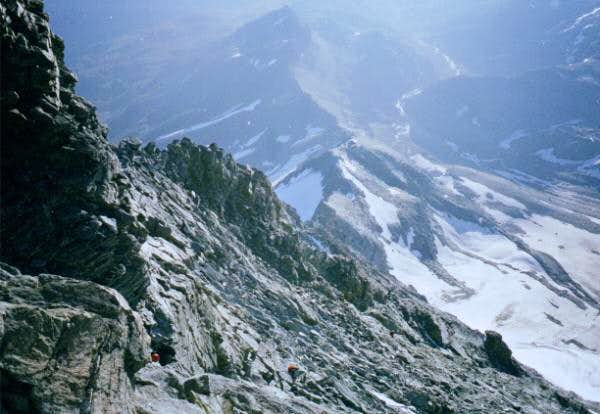 Looking down from Solvay Hut...
