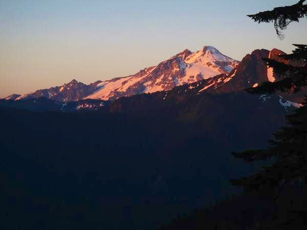Evening alpenglow on Glacier Peak & Painted Mountain