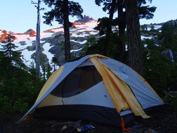 Camp with Sloan Peak in background