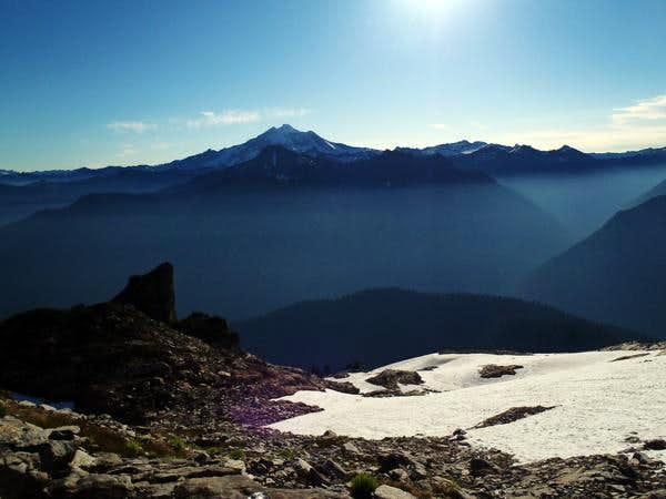 Glacier Peak with Painted Mountain in the dark.