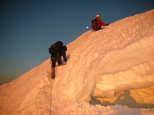 Skirting a crevasse near the summit