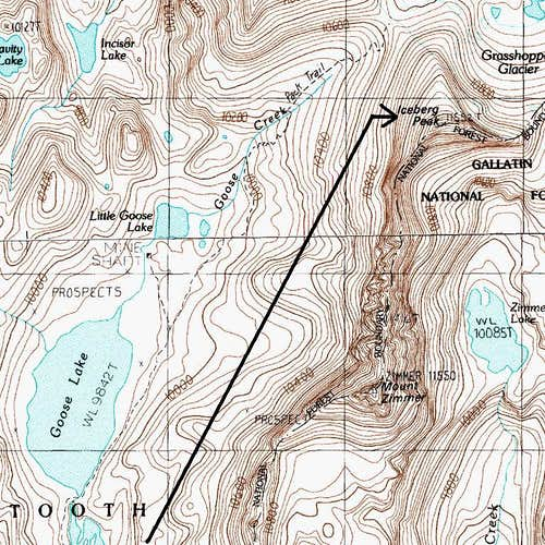 Routes to Iceberg Peak
