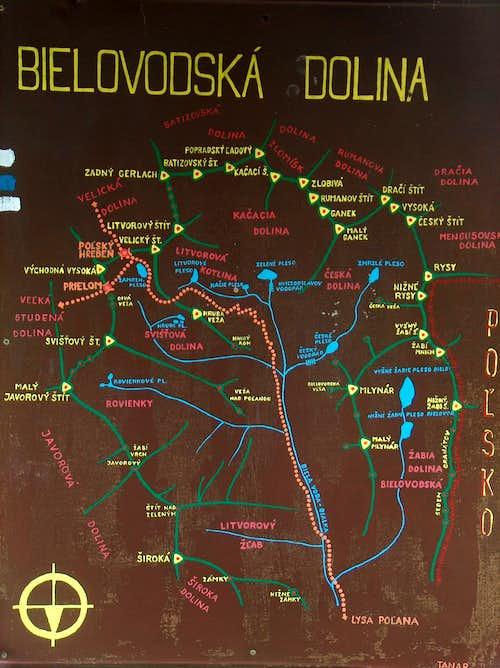 Bielovodska dolina map