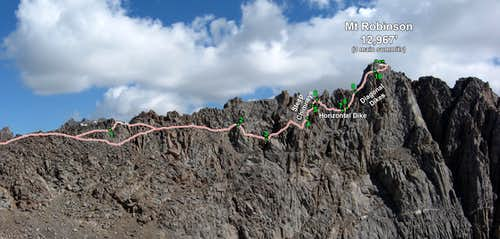The West Ridge of Mt Robinson - Annotation