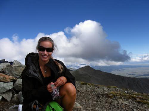 Pretty girl on the summit