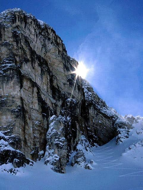 the steep ascent to the...