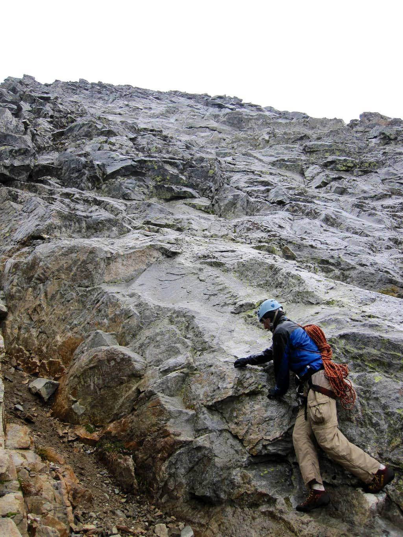 Downclimbing the Upper West Ridge
