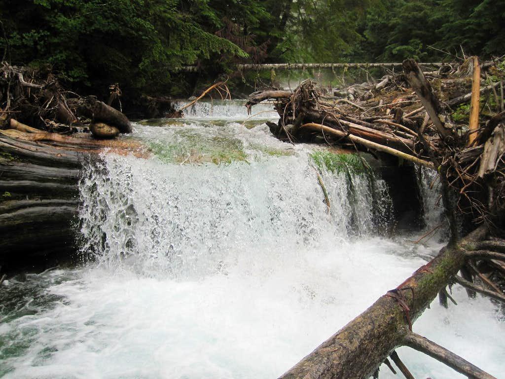 The old log crossing of Terror Creek