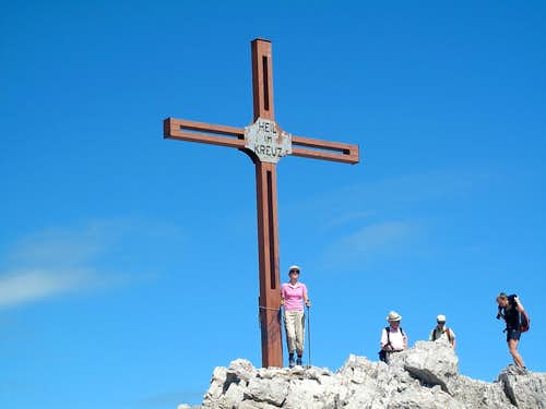 My sister beside the summit cross on Mohnenfluh (2544m)