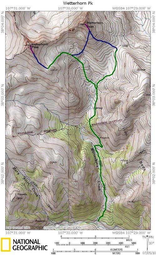 Wetterhorn Peak and Matterhorn Peak from the Matterhorn Peak Trailhead