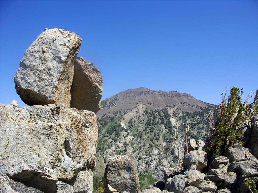 Mount Rose 10,776' behind the Tamarack Lake rocks