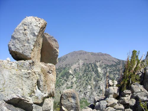 Mount Rose 10,776\' behind the Tamarack Lake rocks