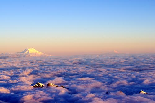 Mt Adams and Mt Hood
