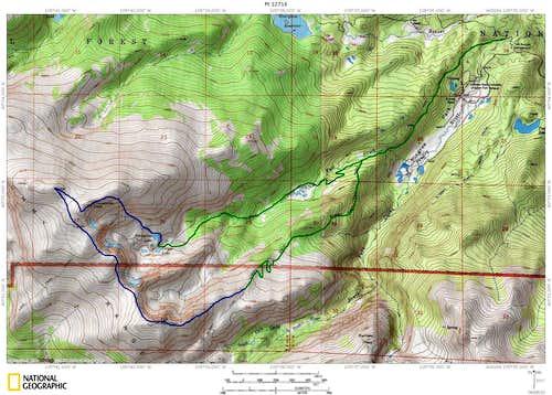 Comanche Peak, Point 12,716, and Fall Mountain from the Emmaline Lake/Mummy Pass Trailhead