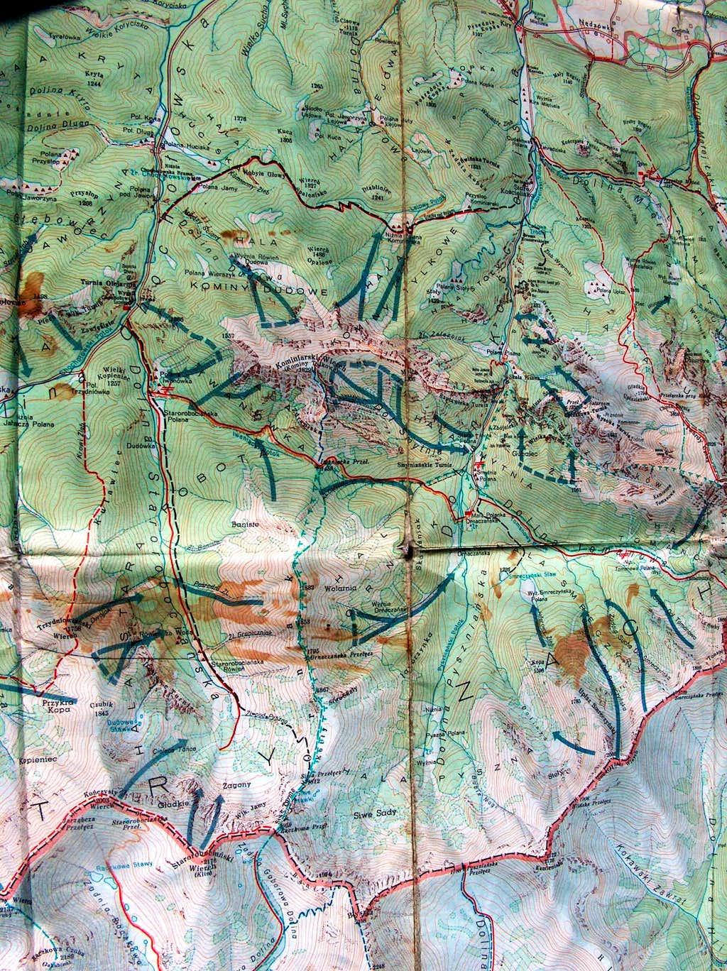 Kominiarski Wierch trail on a 1970 map