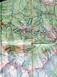 Kominiarski Wierch trail on a 1970 map