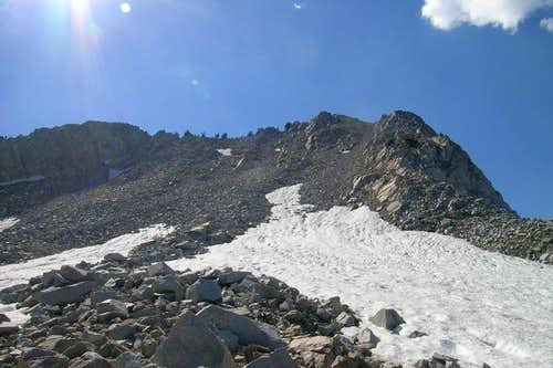 View up the scree on the east...